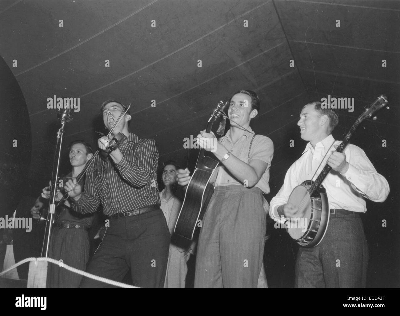 Four musicians performing at the Mountain Musical Festival, Asheville, North Carolina, circa 1930s-1940s - Stock Image