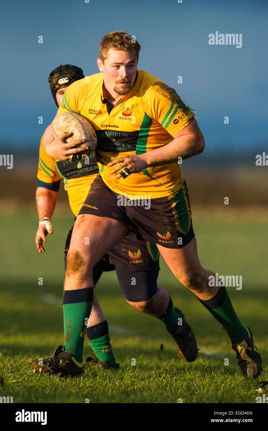 Rugby player in action running with the ball. - Stock Image