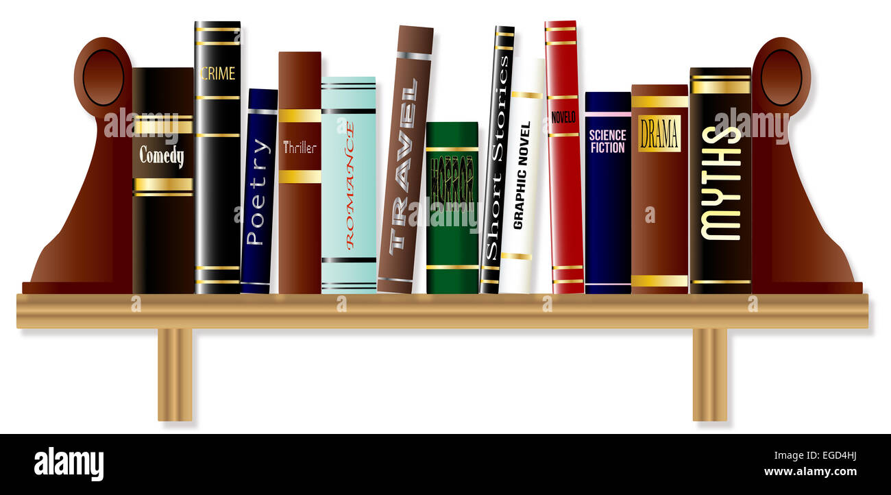 A collection of books on a bookshelf each of a different genre - Stock Image