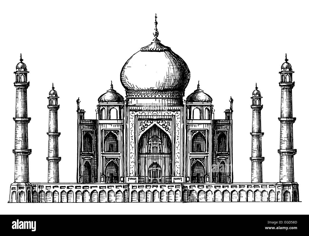 Taj Mahal Logo Design Template. India Or Hindu Religion Icon.