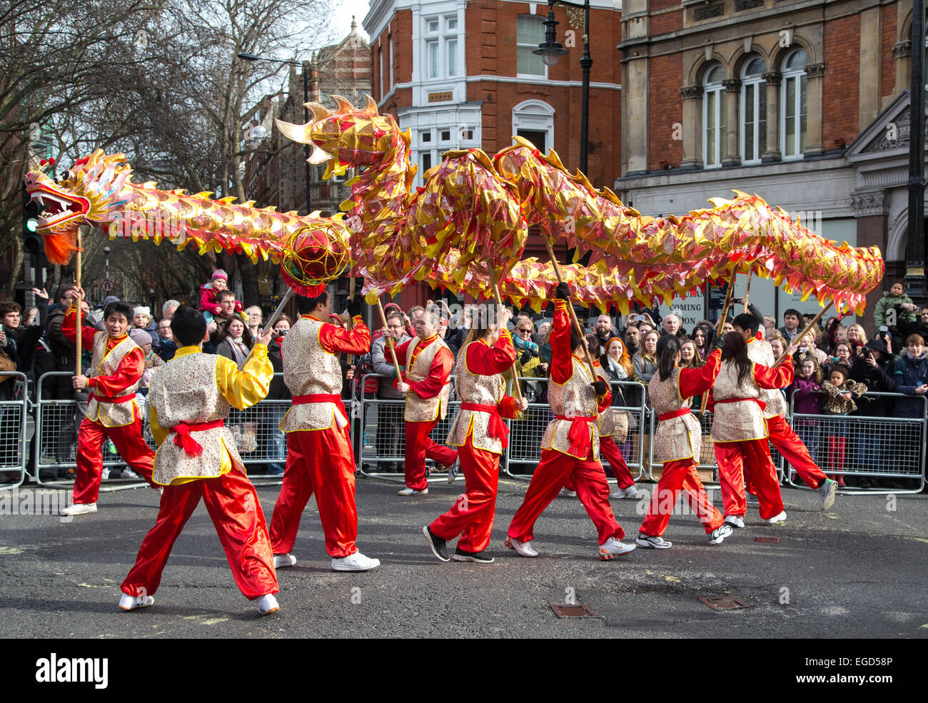 Celebrations for Chinese New Year in London to mark the Year of the Goat or Sheep 2015 - Stock Image
