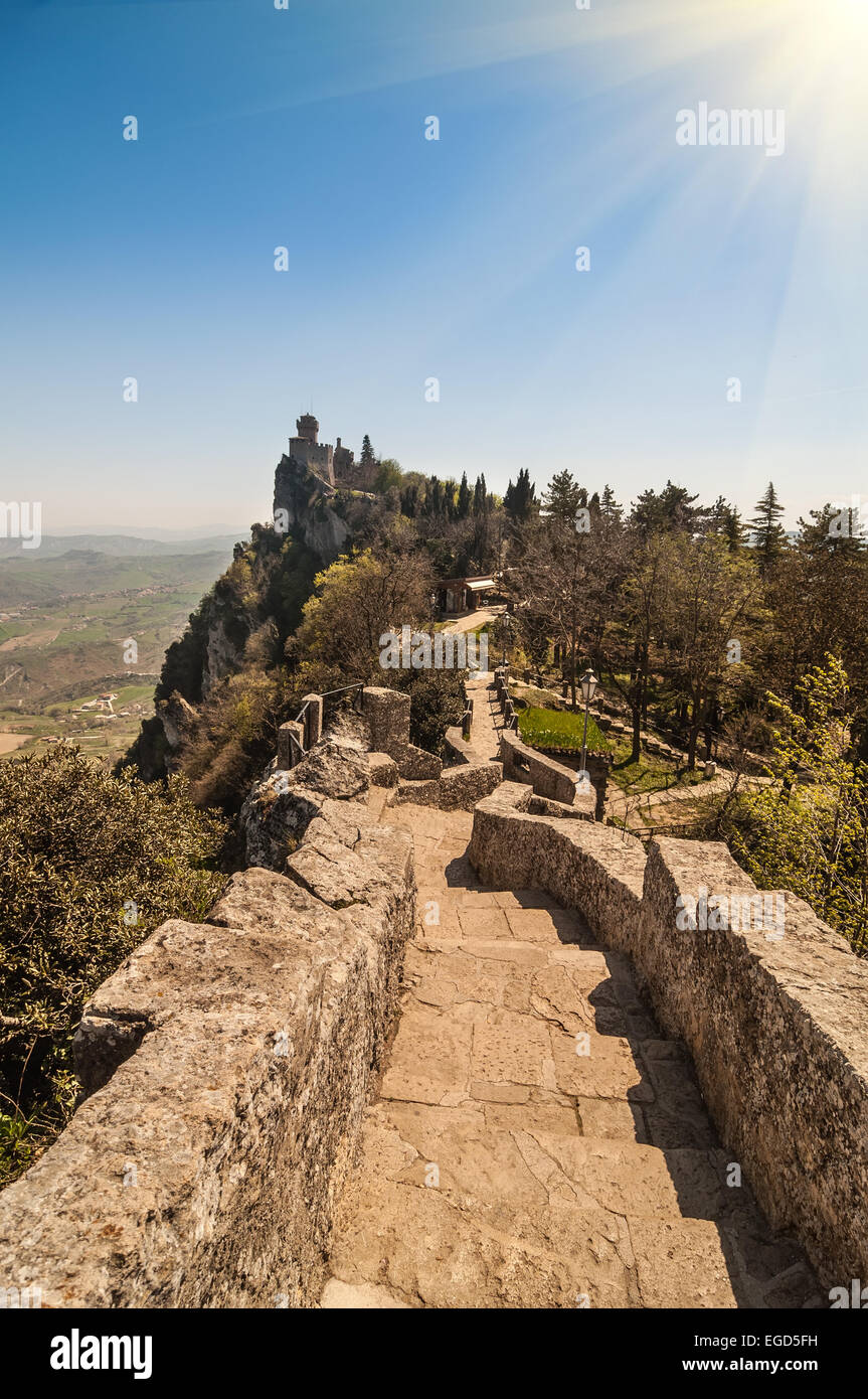Fortress of Guaita (Rocca della Guaita), castle in San Marino Republic Stock Photo