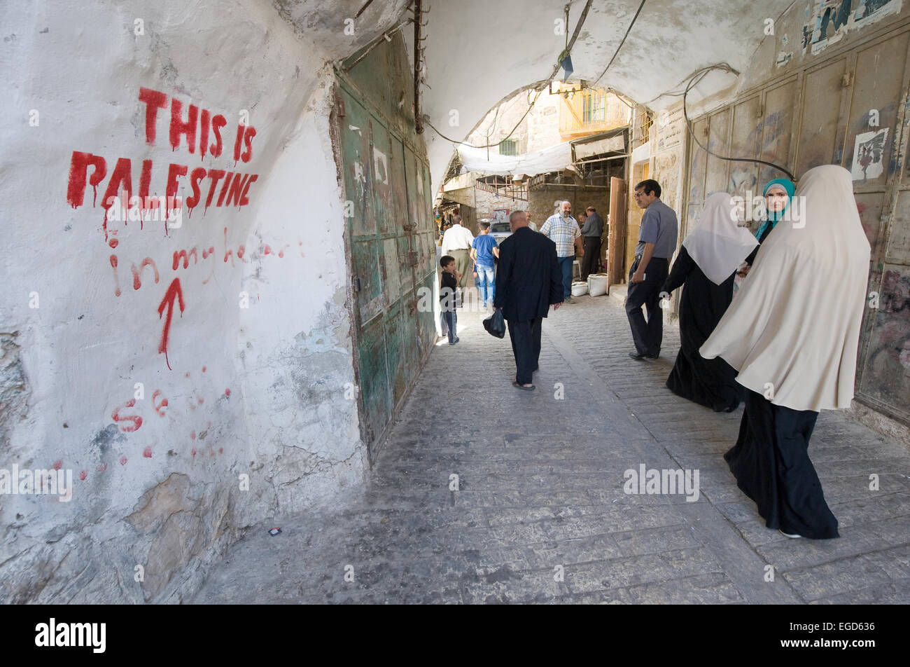 HEBRON, ISRAEL - 10 OCT, 2014: 'This is Palestine' written on a wall in one of the small streets in the - Stock Image