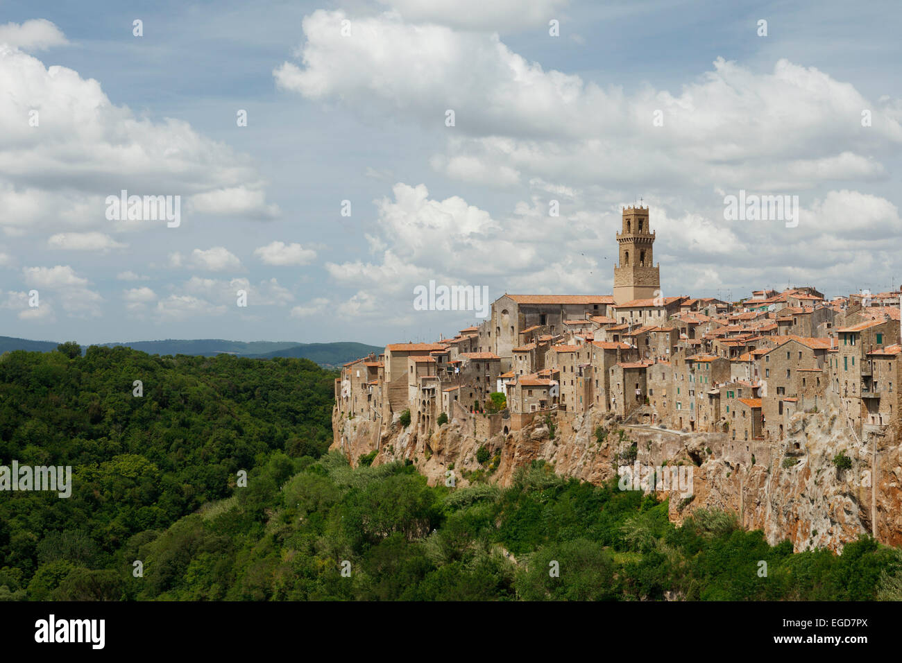 City scape of Pitigliano, hill town, province of Grosseto, Tuscany, Italy, Europe - Stock Image