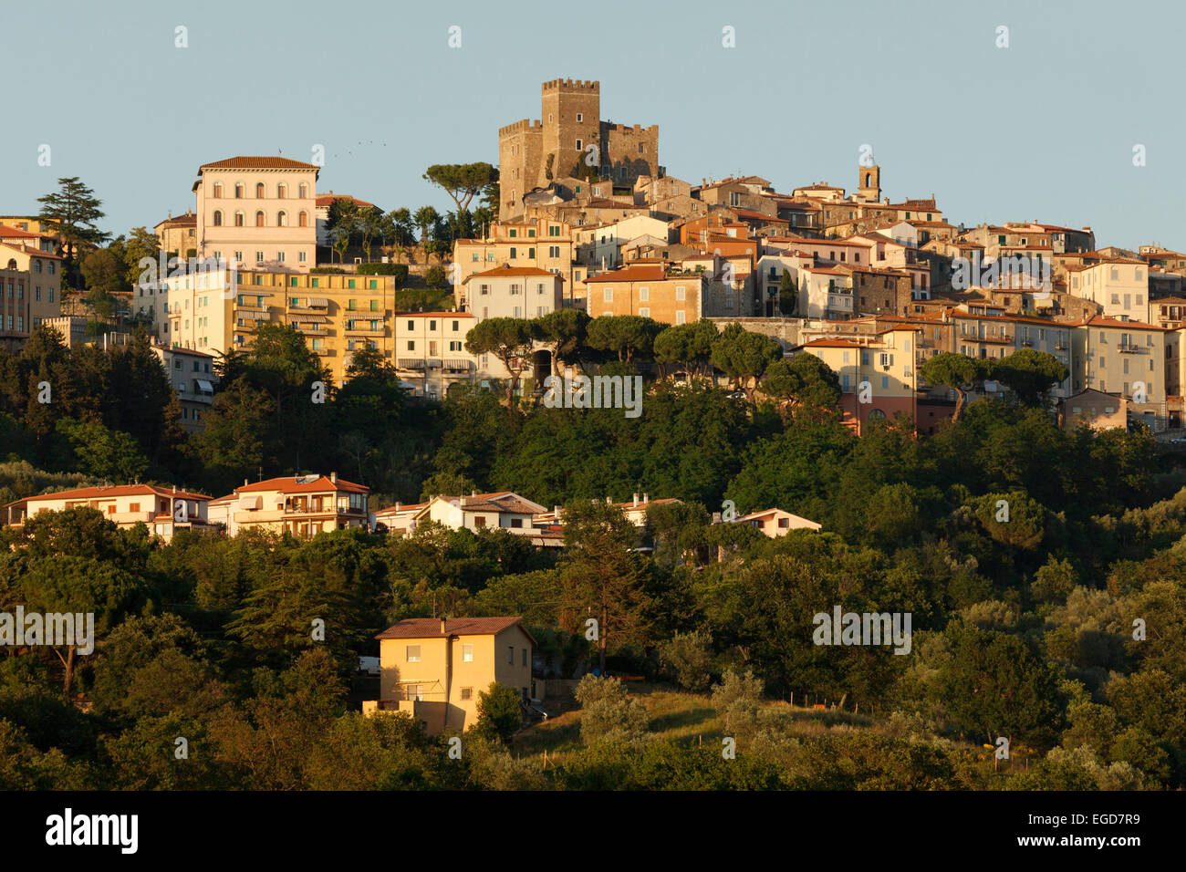 Manciano with fortress, province of Grosseto, Tuscany, Italy, Europe - Stock Image
