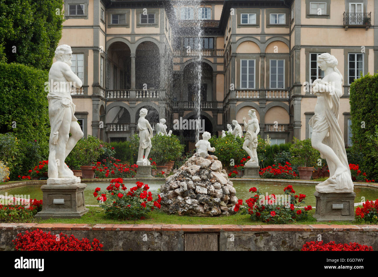 Fountain with statues in the baroque garden, Palazzo Pfanner palace, historic centre of Lucca, UNESCO World Heritage - Stock Image