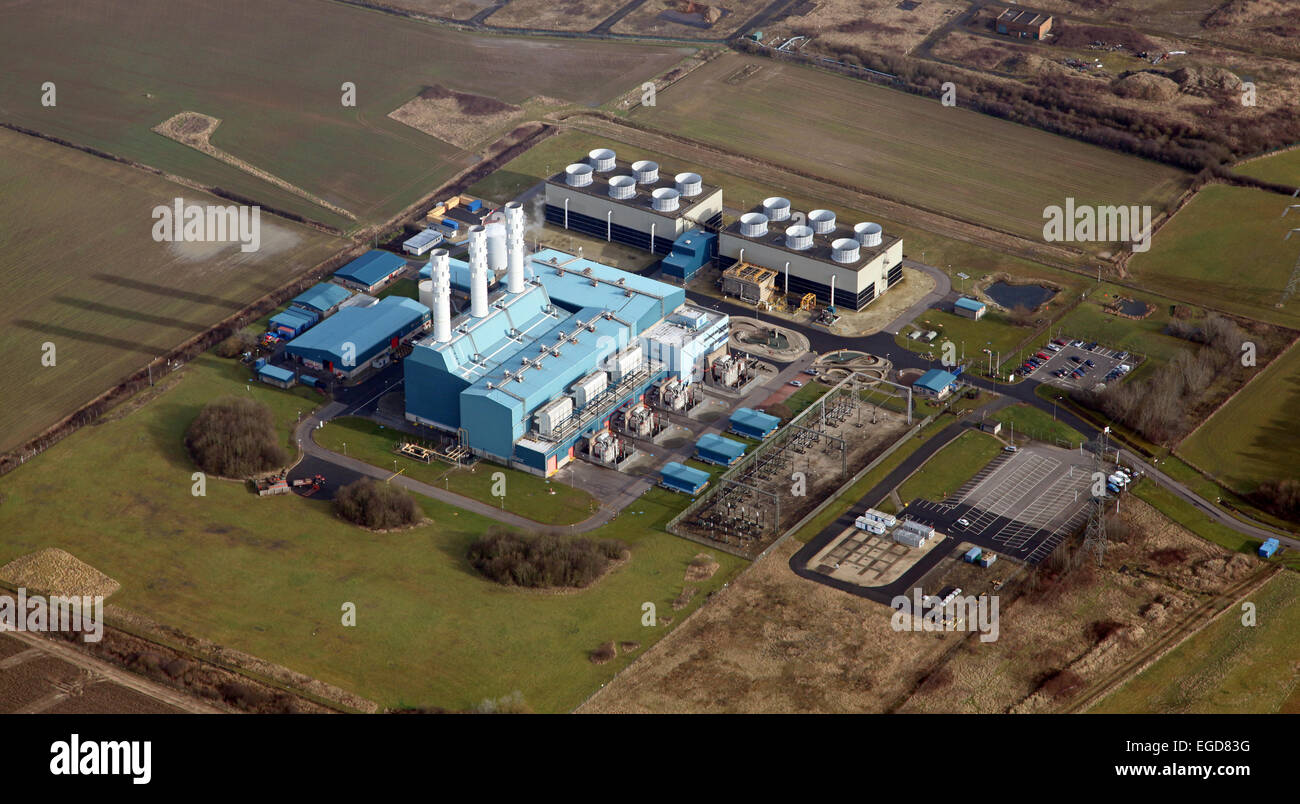 aerial view of the gas fired Centrica owned power station at North Killingholme in Lincolnshire, UK - Stock Image
