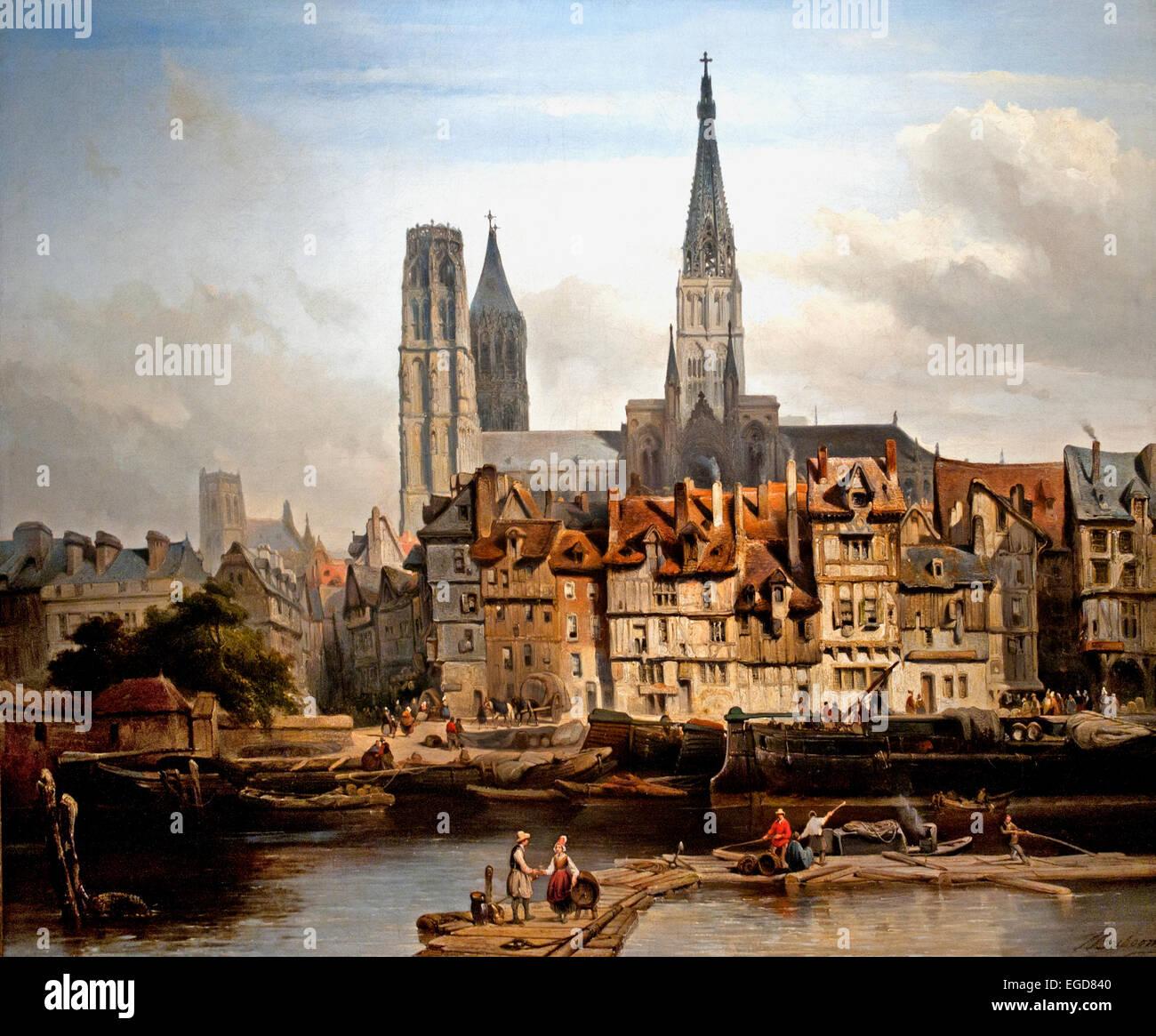The Quai de Paris in Rouen ( Normandy France ) 1839 Johannes Bosboom 1817-1891 ) Dutch Netherlands - Stock Image