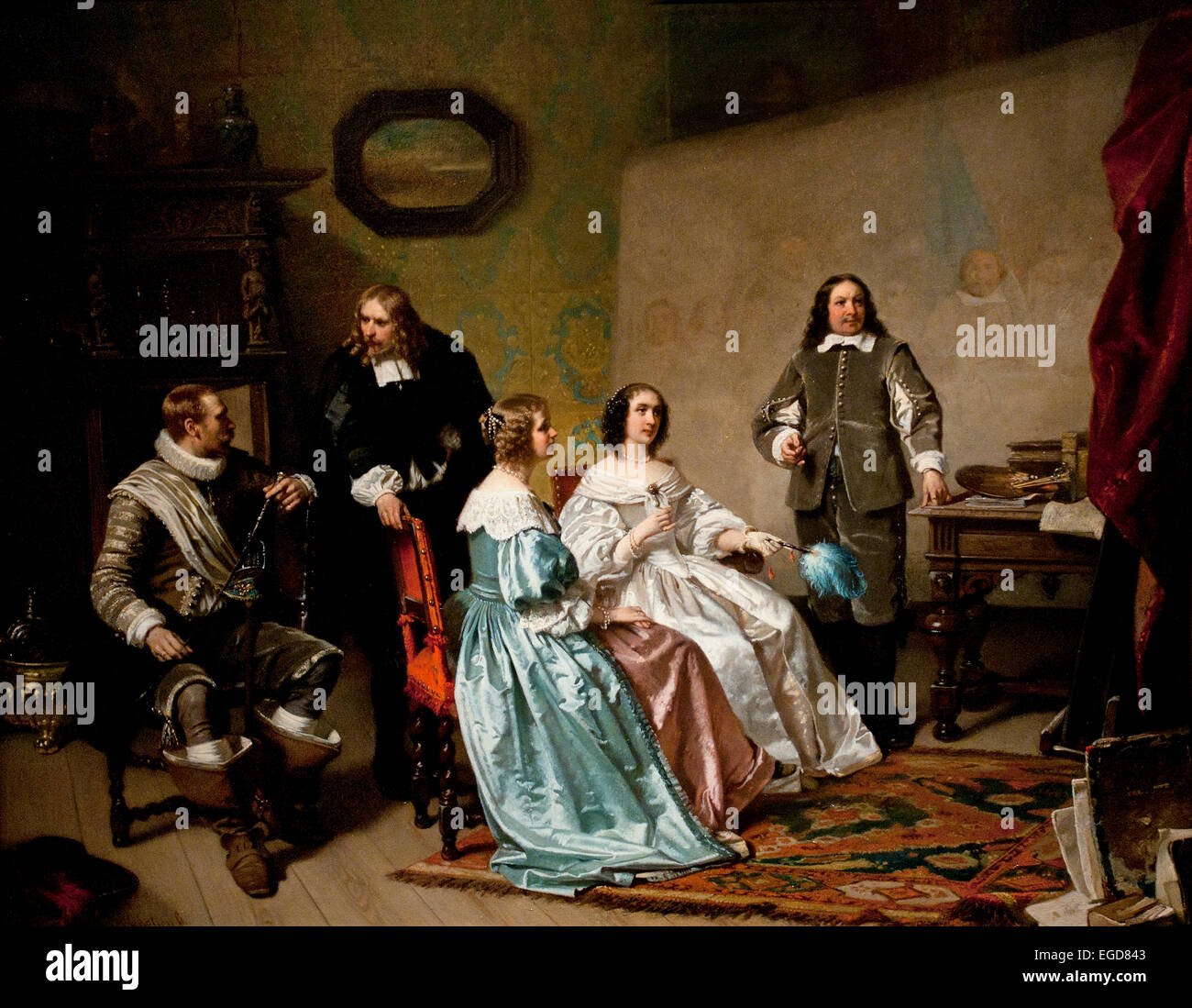The Princess of Orange visiting the workshop of Bartholomeus van der Helst 1613-1670 painting 1850-1870  by Hendrik - Stock Image