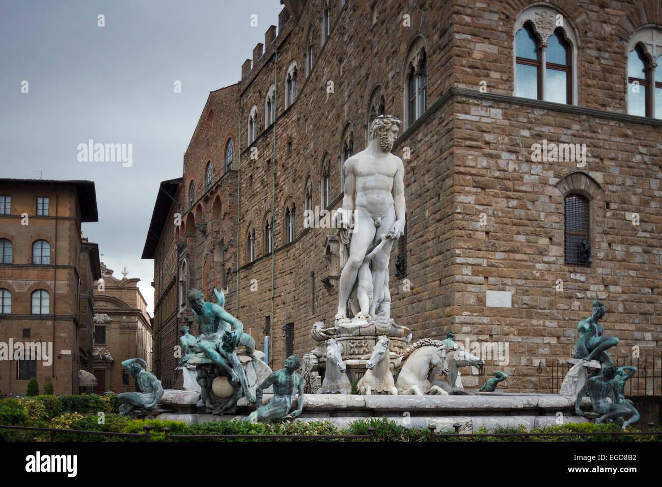 Fontana de Nettuno, Fountain of Neptune in front of the Palazzo Vecchio, Piazza della Signoria square, historic - Stock Image