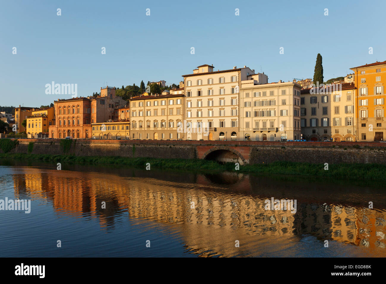 Arno river, historic centre of Florence, UNESCO World Heritage Site, Firenze, Florence, Tuscany, Italy, Europe - Stock Image