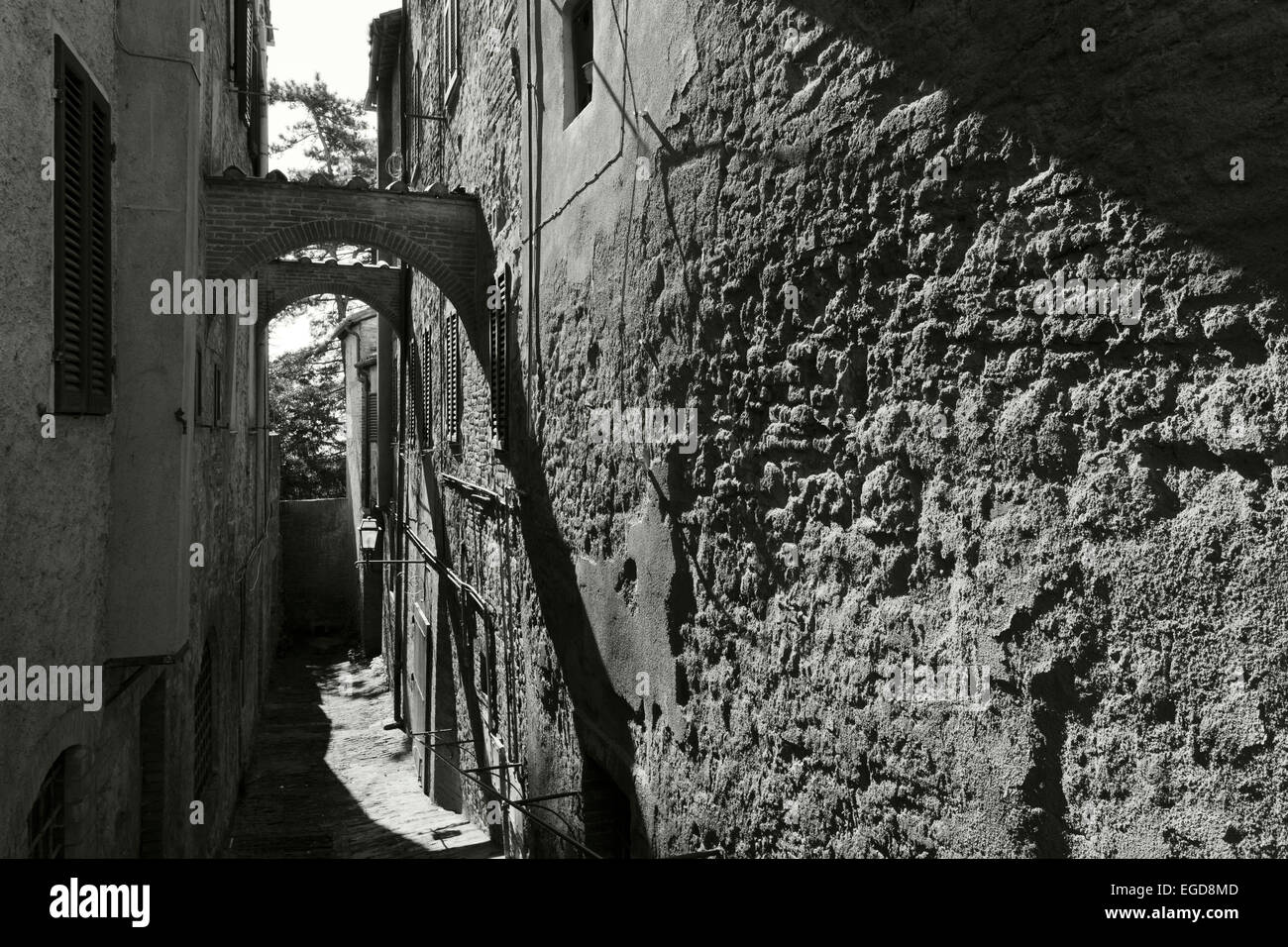Alley, Montepulciano, hilltown, UNESCO World Heritage Site, province of Siena, Tuscany, Italy, Europe - Stock Image