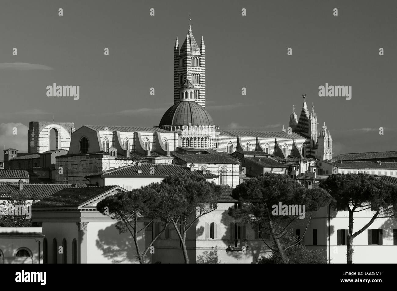 Townscape with Duomo Santa Maria, Siena, UNESCO World Heritage Site, Tuscany, Italy, Europe - Stock Image