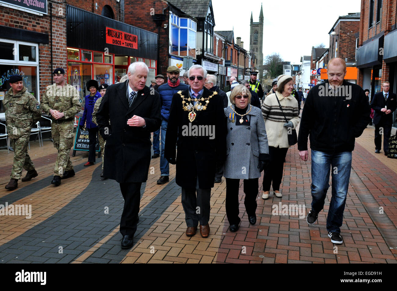 The Chorley Pals Memorial group held a commemorative walk to mark the centenary of the men of the town going to - Stock Image