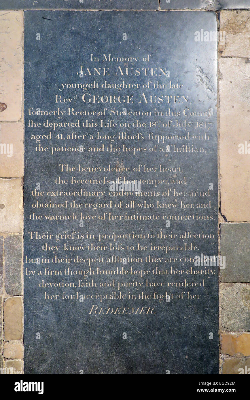 Jane Austen 's grave stone memorial in the Nave of Winchester Cathedral. UK. (75) - Stock Image