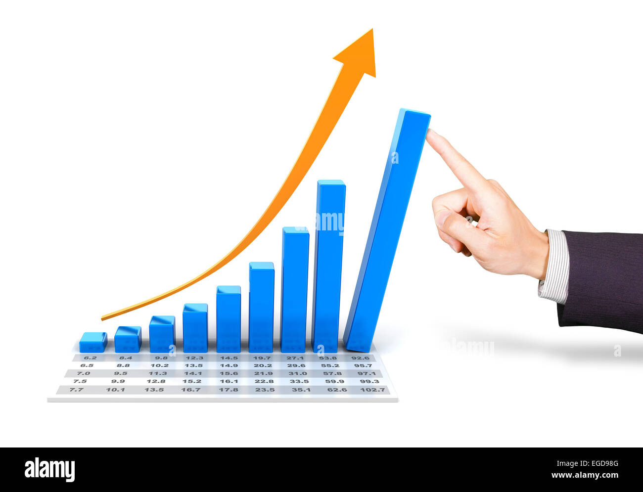Rising chart with hand pushing the tallest bar Stock Photo