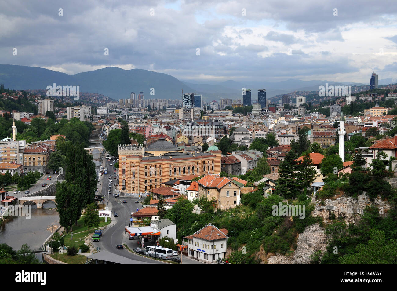 View of Sarajevo from the east, Sarajevo, Bosnia and Herzegovina - Stock Image