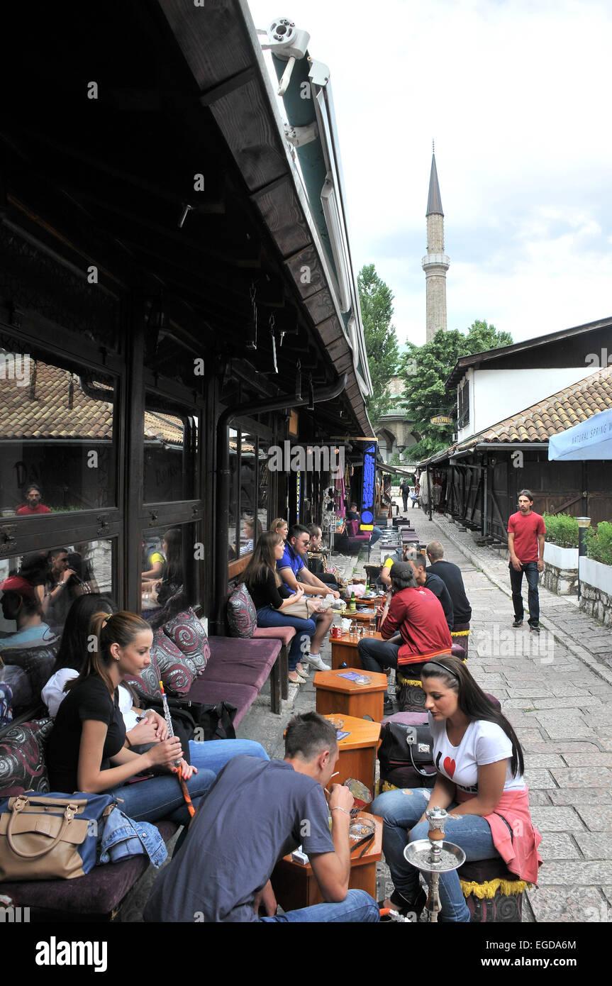 Cafe in Bascarsija in the old town, Sarajevo, Bosnia and Herzegovina - Stock Image