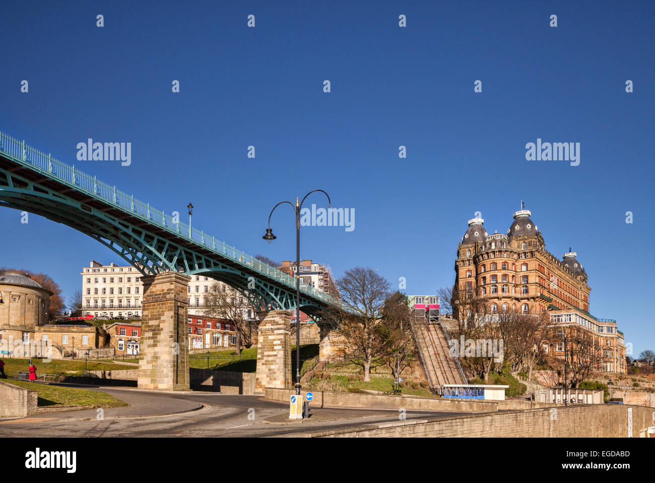 The Grand Hotel, Scarborough, North Yorkshire, England, UK, a Grade 2 listed building, and the Spa Bridge, on a - Stock Image