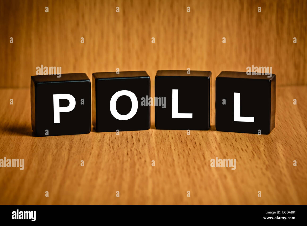 Poll or vote text on black block - Stock Image