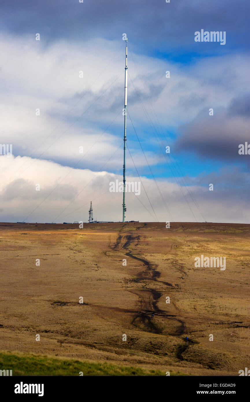View of Winter Hill television mast  from Rivington Pike, near Bolton, Lancashire. Picture by Paul Heyes, Tuesday Stock Photo