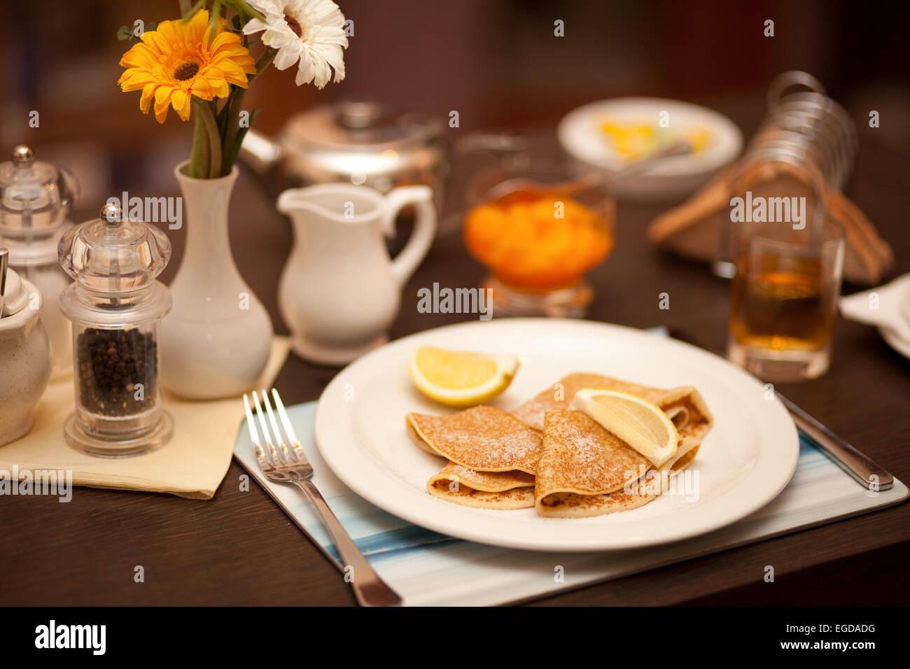 A pancake breakfast - Stock Image
