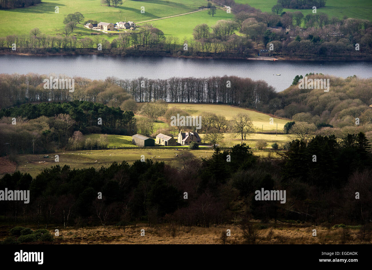 View of Rivington reservoir from Rivington Pike, near Bolton, Lancashire. Picture by Paul Heyes, Tuesday February - Stock Image
