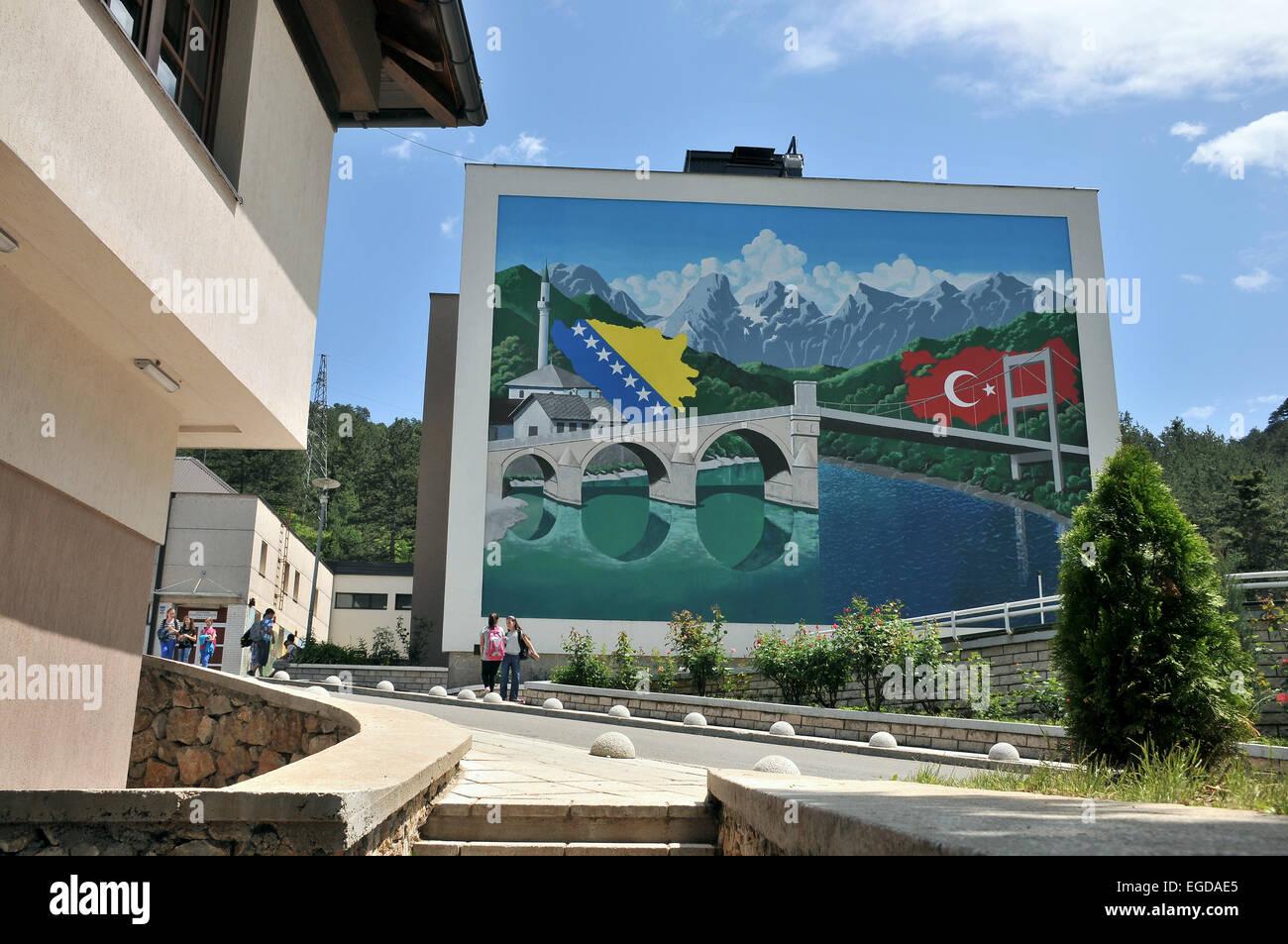 School in Konjic at the river Neretva, Bosnia and Herzegovina - Stock Image