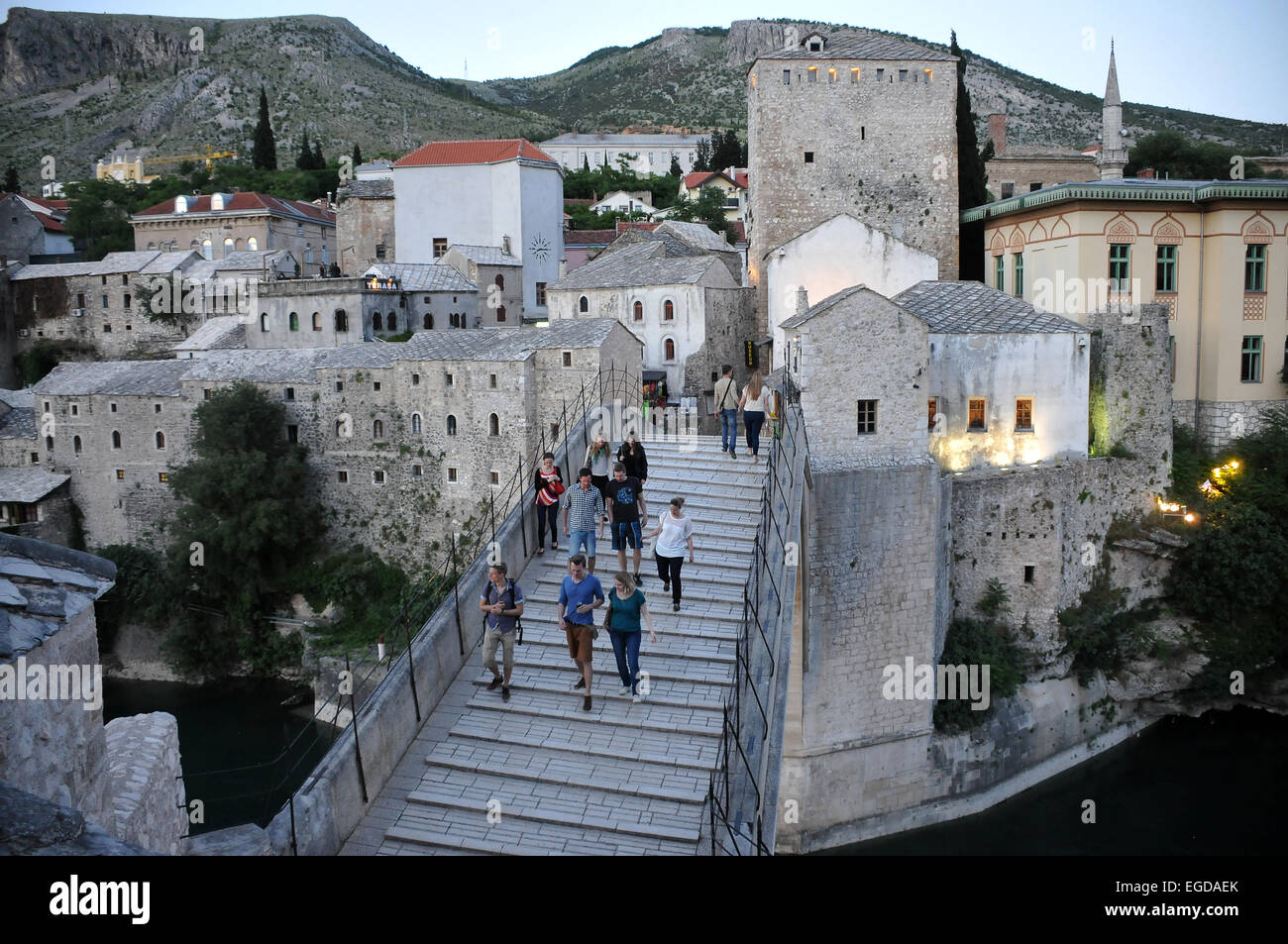 At the old bridge, Mostar, Bosnia and Herzegovina - Stock Image