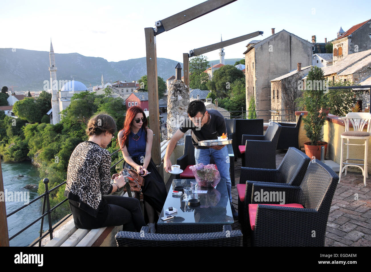 View from the panorama cafe, Mostar, Bosnia and Herzegovina Stock Photo