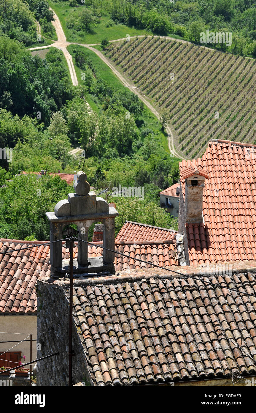 House roof in the mountain village of Motovun, Central Istria, Croatia - Stock Image