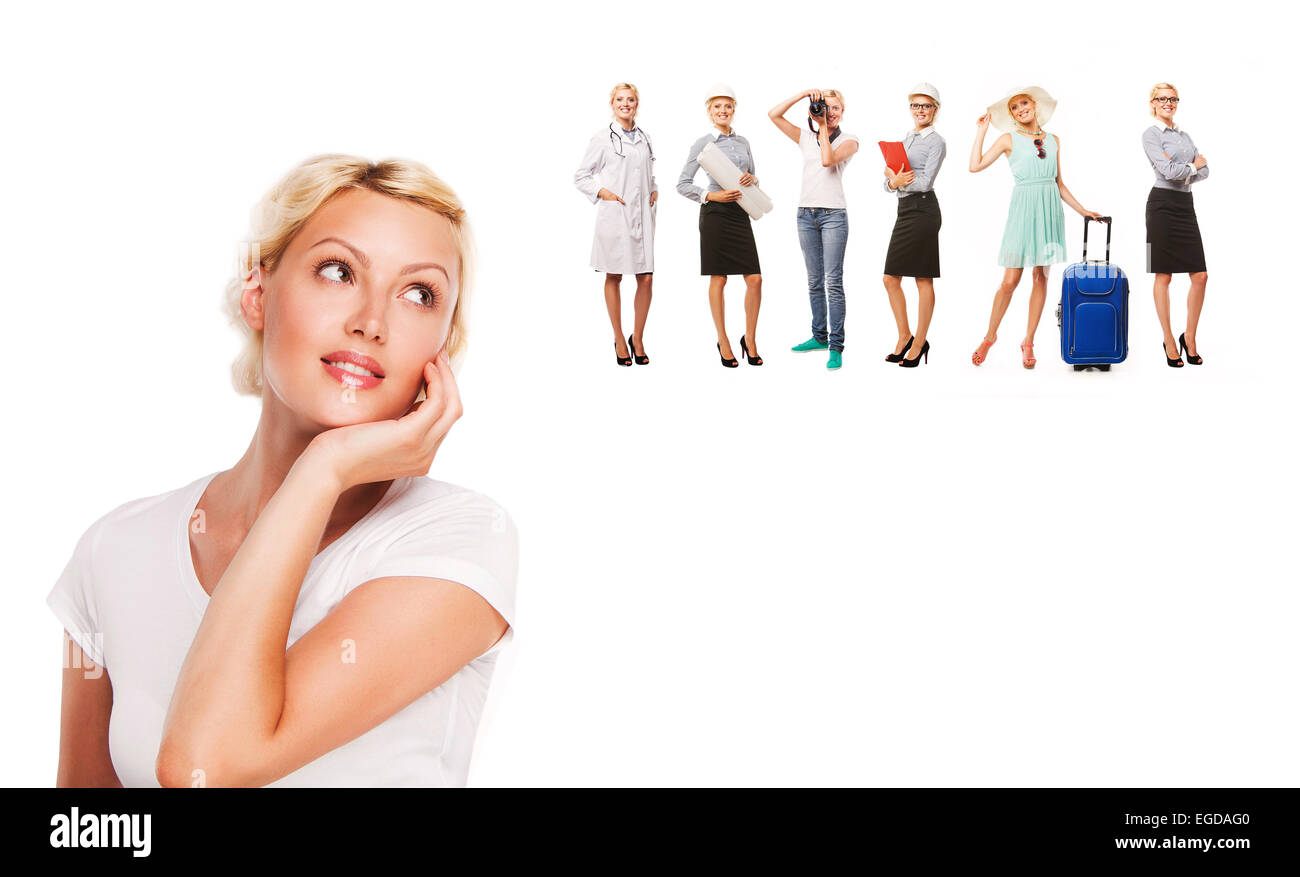 Career choice options - student thinking of future education. Young woman contemplating career options smiling looking - Stock Image