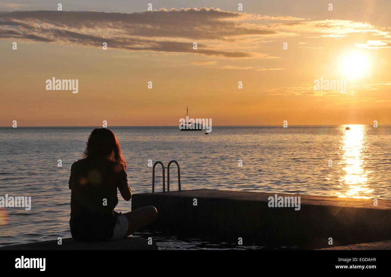 Sunset along the promenade, Piran, Gulf of Triest, Slovenia - Stock Image