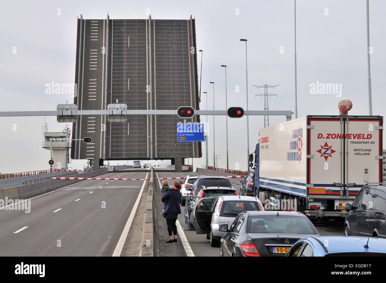 Lift bridge on the A29 south of Rotterdam, The Netherlands - Stock Image