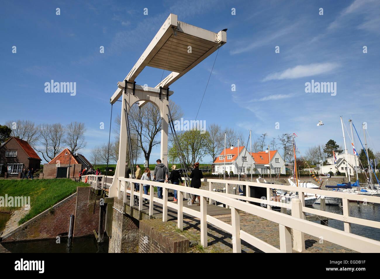 Vertical-lift bridge in Veere on Zeeland, The Netherlands - Stock Image