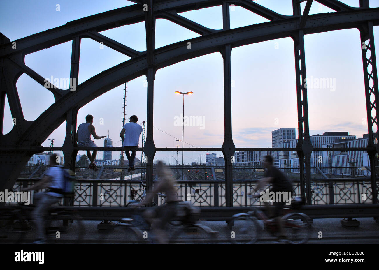 Evening on the Hacker bridge, Munich, Bavaria, Germany - Stock Image