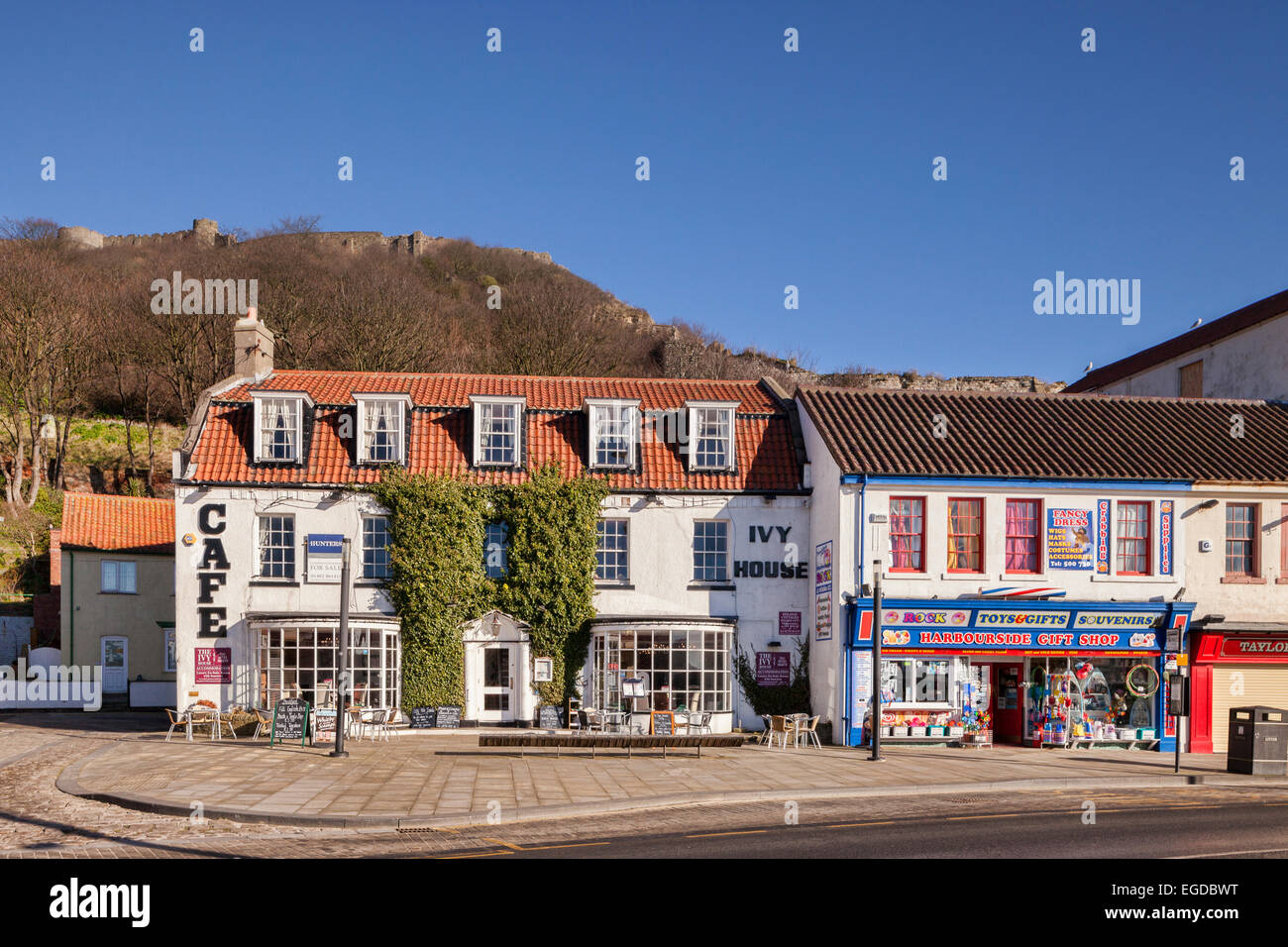 Cafe and gift shop along the seafront at Scarborough, North Stock