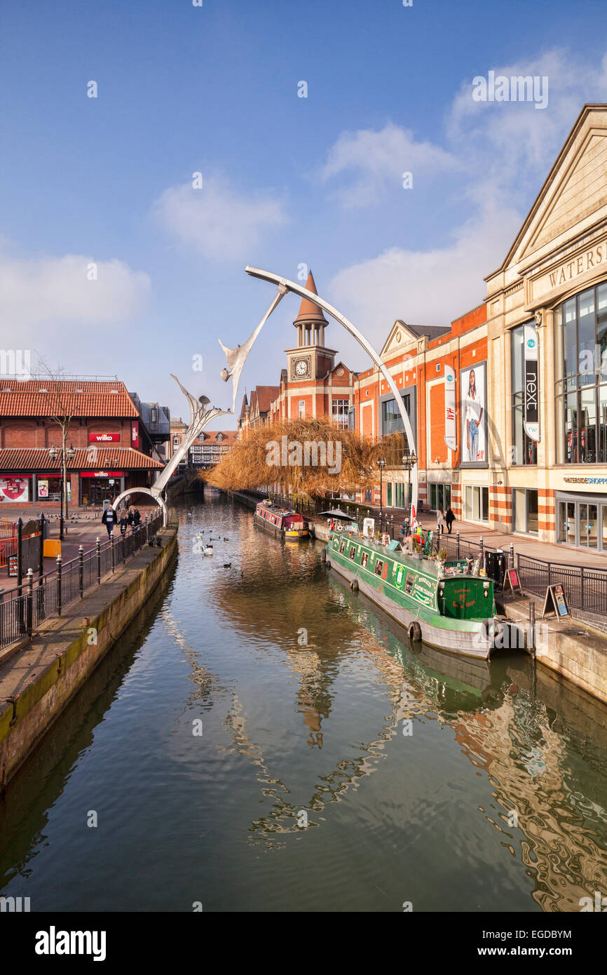 Waterside- a shopping precinct beside the River Witham, Lincoln, Lincolnshire, England, UK. The public sculpture - Stock Image