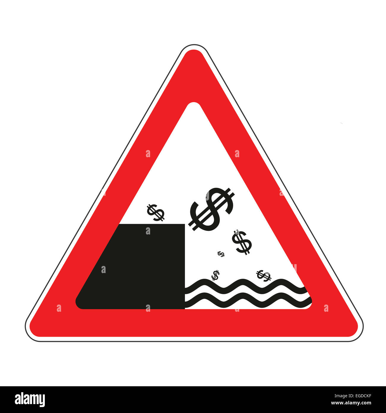 Illustration of road sign with dollar currency decline concept - Stock Image