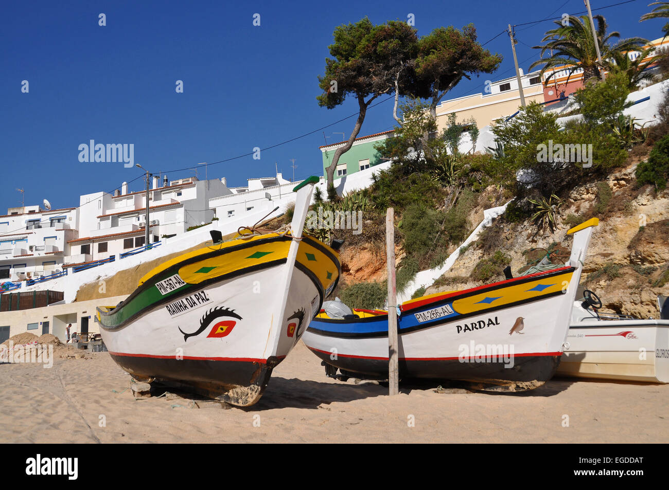 Traditional fishing boats on the beach of Carvoeiro, Algarve, Portugal Stock Photo