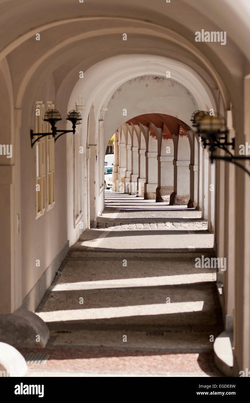 Arcade in the old city near Prague Castle, Prague, Czech Republic, Europe - Stock Image