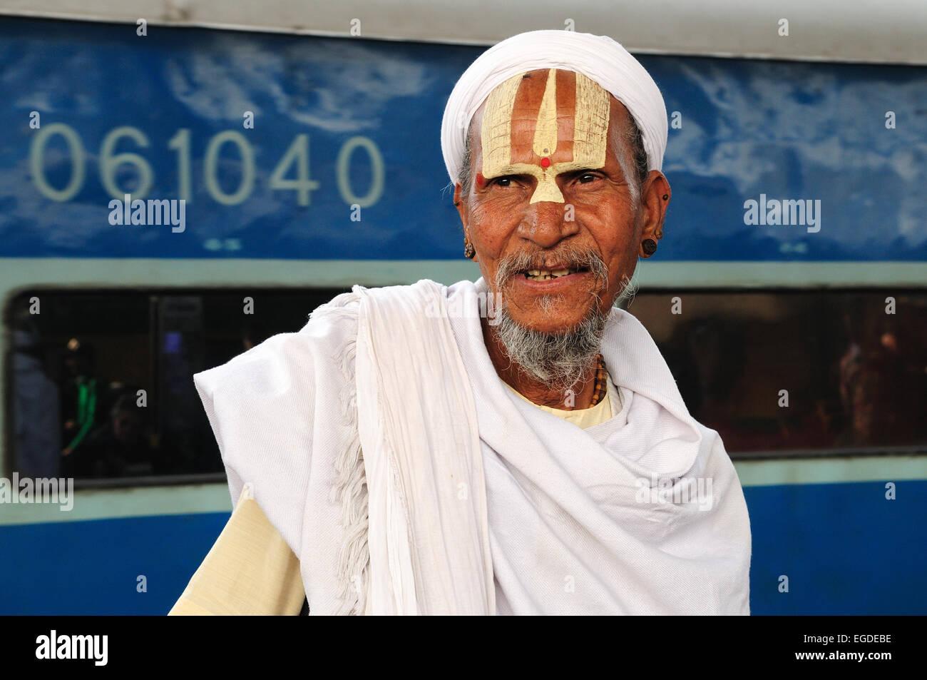 A Vishnu Devotee Sadhu Indian Holy Man at Delhi Railway Station India - Stock Image