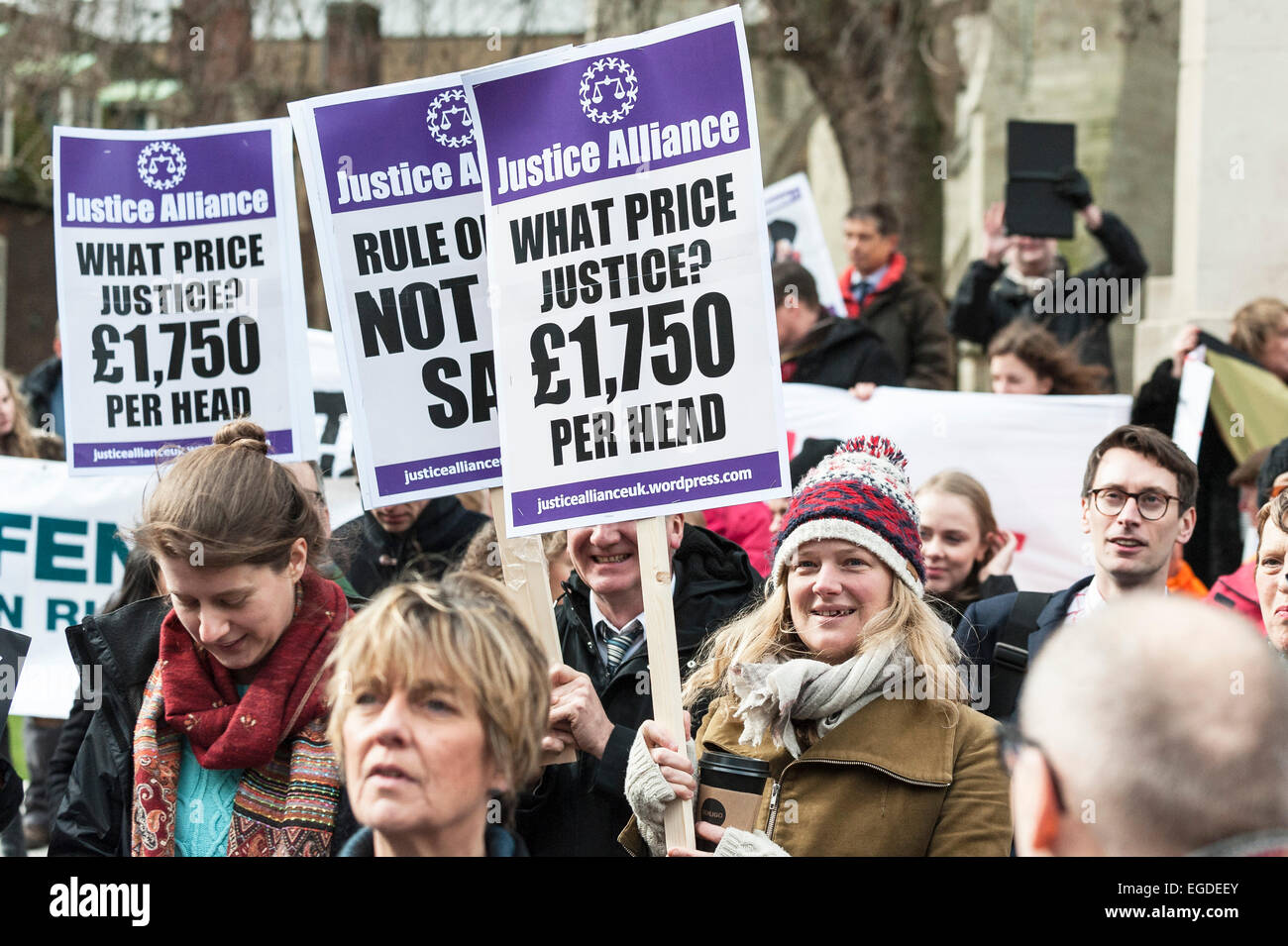 Westminster, London, UK. 23rd February, 2015. Hundreds of lawyers, trade unionists and campaigners gathered outside - Stock Image