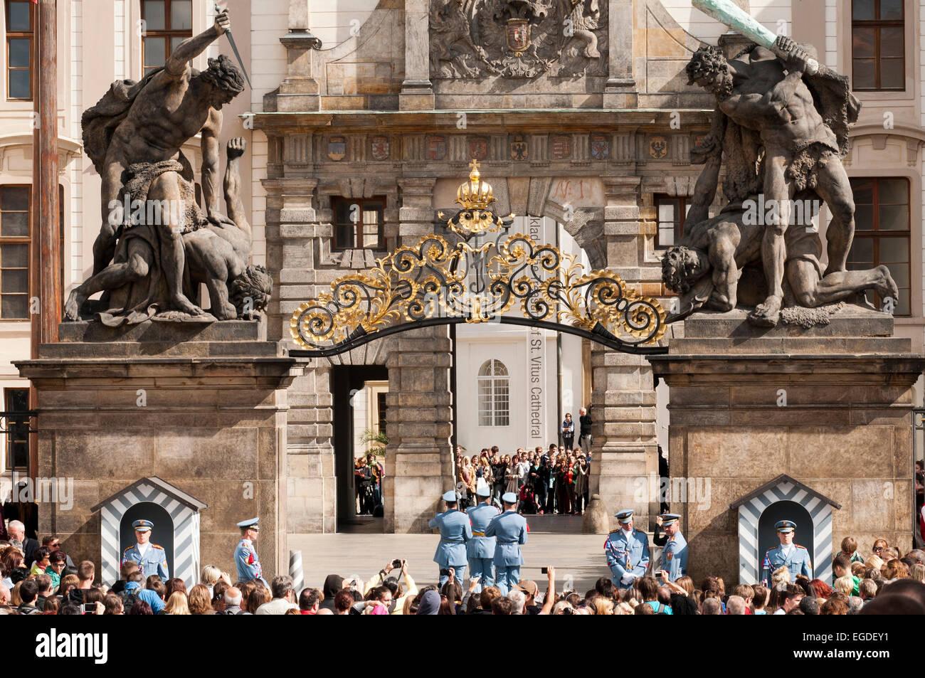 Changing of the guard at Prague Castle, Prague, Czech Republic, Europe - Stock Image