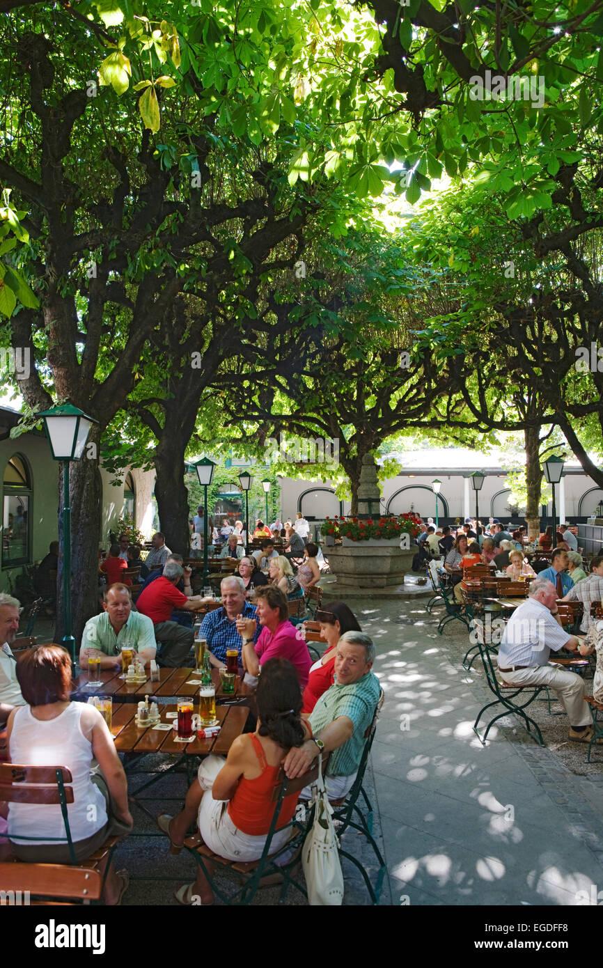 Beer garden in Klosterhof, Linz, Upper Austria, Austria Stock Photo