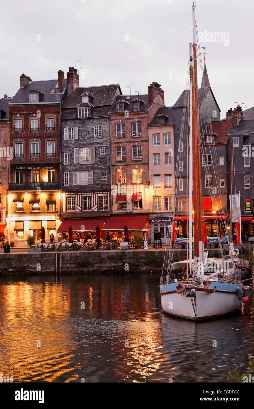 Vieux Bassin is the old part of the harbour, Honfleur, Lower Normandy, Normandy, France - Stock Image