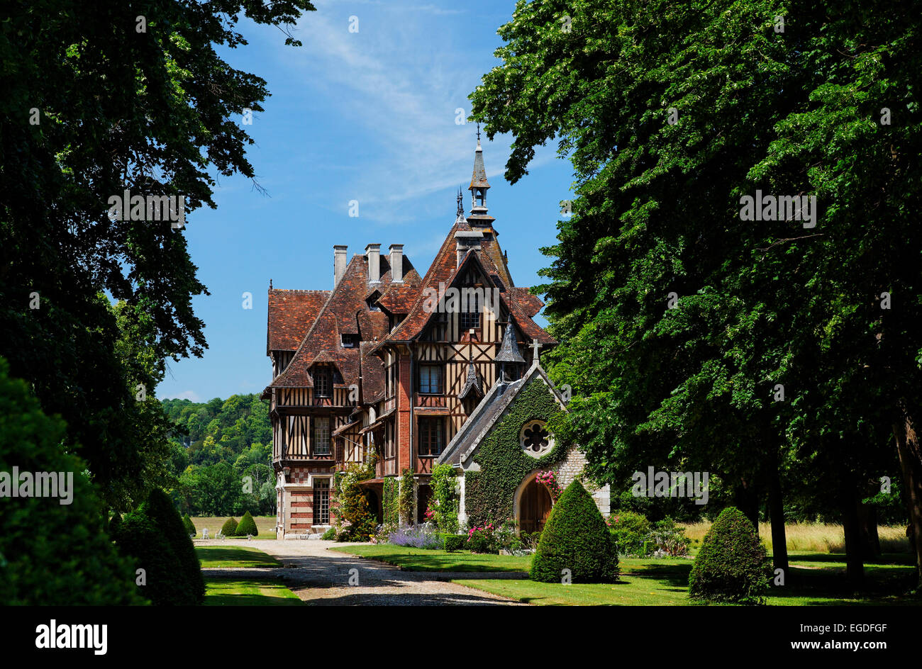 Manor house, Manoir de Villers, Saint Pierre de Manneville, Seine-Maritime, Upper-Normandy, France - Stock Image