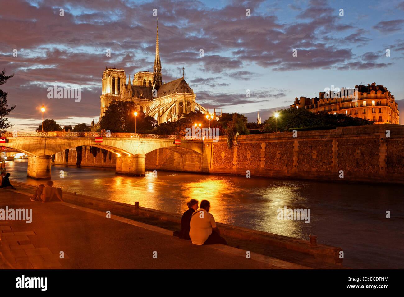 Ile de la Cite, Seine and Notre Dame, Paris, France - Stock Image