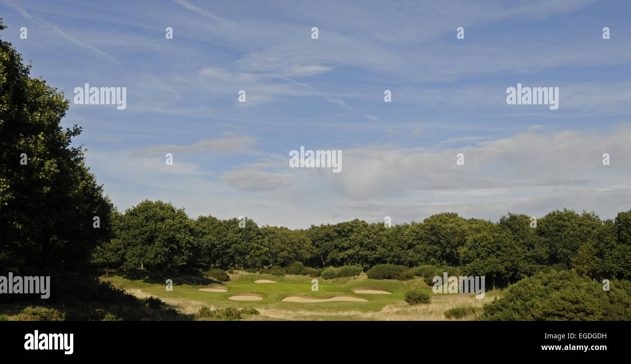 View from the Tee of the 12th Hole with many bunkers Orsett Golf Club Essex England Stock Photo