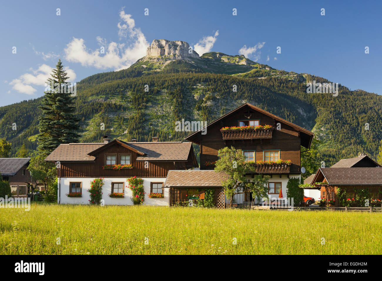 Traditional houses in Altaussee, Berg Loser, Styria, Austria - Stock Image